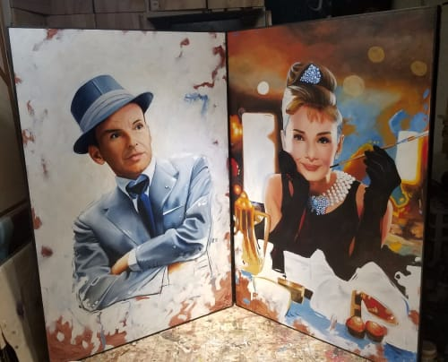 Paintings by Art by Boris seen at Private Residence, Brooklyn - Large Audrey Hepburn and Frank Sinatra