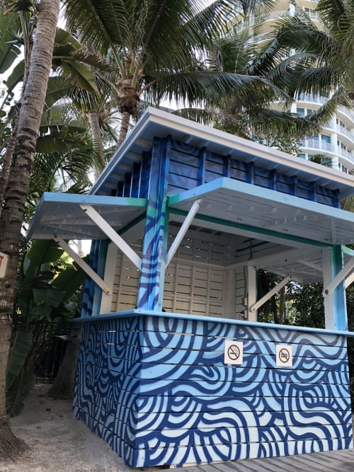 Murals by Jorge-Miguel Rodriguez seen at Royal Palm South Beach Miami, a Tribute Portfolio Resort, Miami Beach - Wave Hut