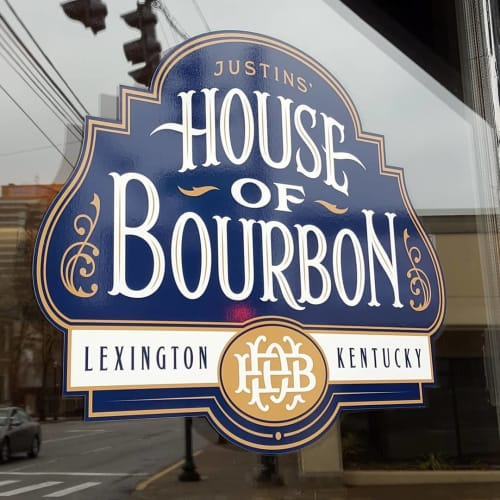 Signage by Jason Carne seen at Justins' House of Bourbon, Lexington - House of Bourbon Signage and Labels