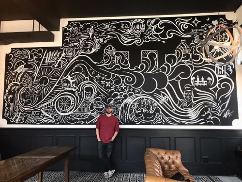 "Murals by Lee ""Baxter"" Riddleberger seen at Little Brother Brewing, Greensboro - Indoor Mural"