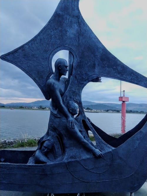 Public Sculptures by Ann Meldon Hugh seen at Soldiers Point, Dundalk - Sea God Mannanan and Voyagers