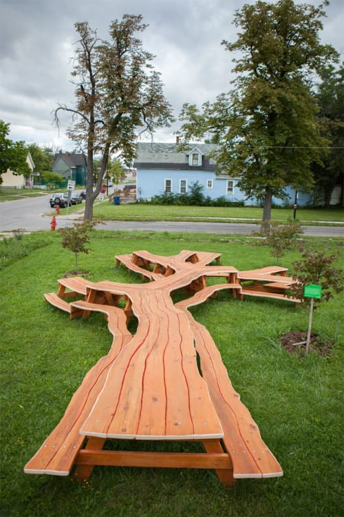 Tables by Michael Beitz seen at Michigan Riley Farm, Buffalo - Sculptural Tree Table