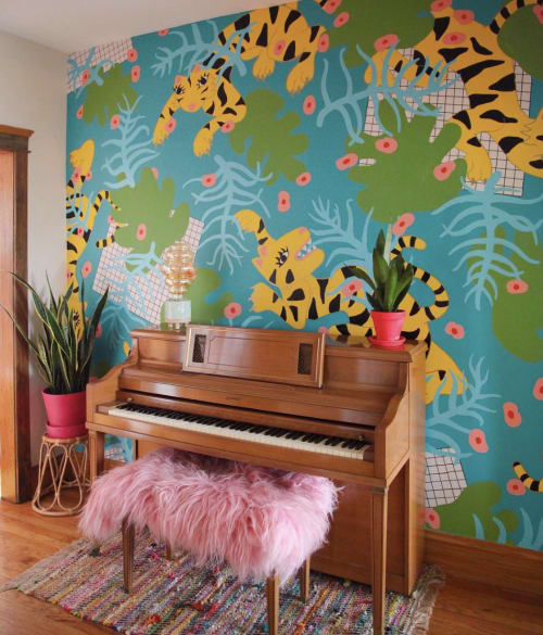 Murals by Syd Veverka seen at Private Residence, Chicago - Barbie Roadkill Entryway