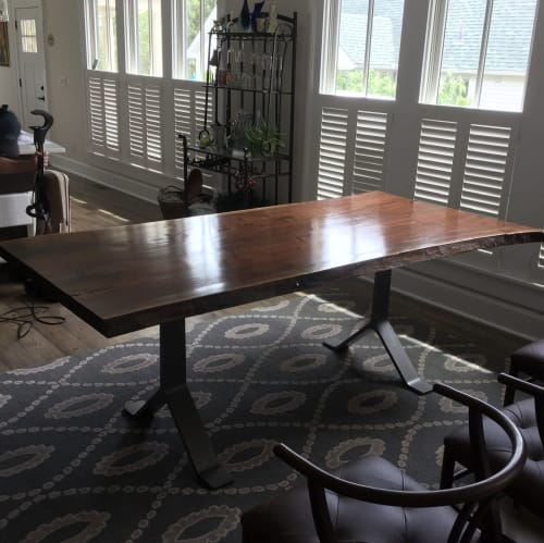 Tables by Duncan Custom Woodwork seen at Private Residence, Bardstown - Walnut Table with Steel Legs