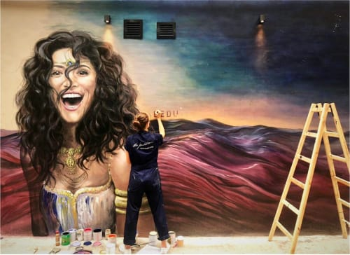 Murals by Elsa Jeandedieu Studio at Gough Street - Laughing Bedouin Woman