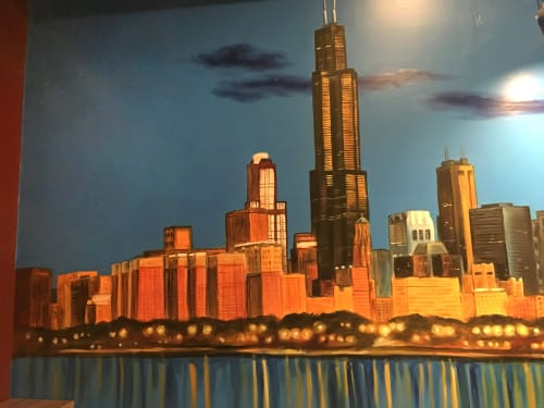 Murals by Crayons Gone Wild . Ken Markiewicz seen at Pinot's Palette, Chicago - Chi Town at dusk!