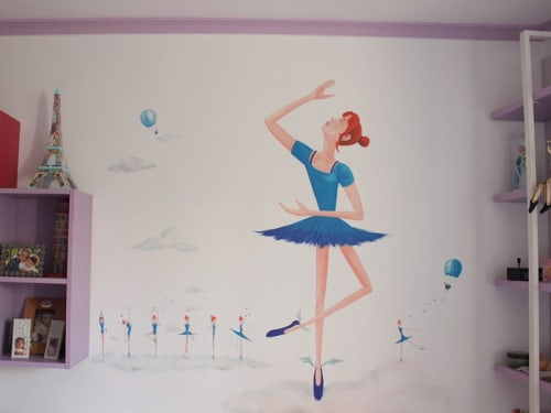 "Murals by LaRa Gombau seen at Private Residence, Alcanar - BALLARINA (""Dancer"")"
