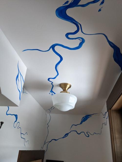Hand-painted wallpaper: river pattern | Wallpaper by Ann Karp, Sideways Gaze Art & Sign