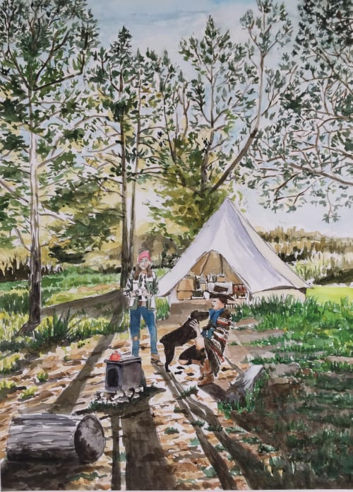 Paintings by Arran Harvey seen at San Francisco, San Francisco - Camp with Dog, 2018, watercolor, 15 x 11 inches