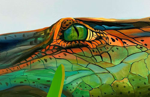 Murals by Lindsey Millikan (Milli) seen at Museum of Illusions, Los Angeles - Crocodile Mural