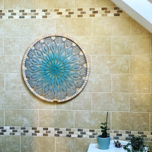 Art & Wall Decor by Woolly Fingers seen at Private Residence - Aqua Mandala