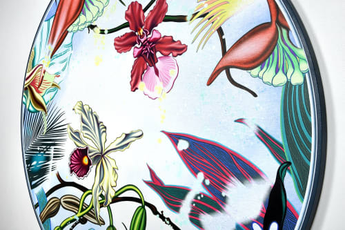 """Paintings by Peter D. Gerakaris Studio seen at The Brooklyn Home Company, Brooklyn - """"Orchid Oculus Tondo"""" - NYC Exhibit"""