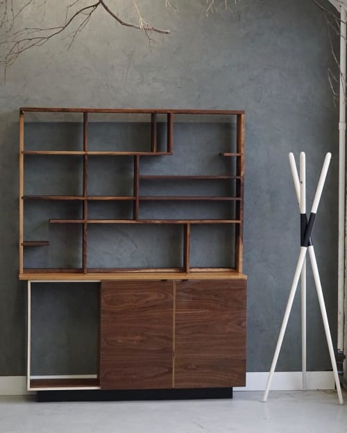 Furniture by Ordinal Indicator seen at Private Residence, Brooklyn - Walnut Hutch / Shelving Unit