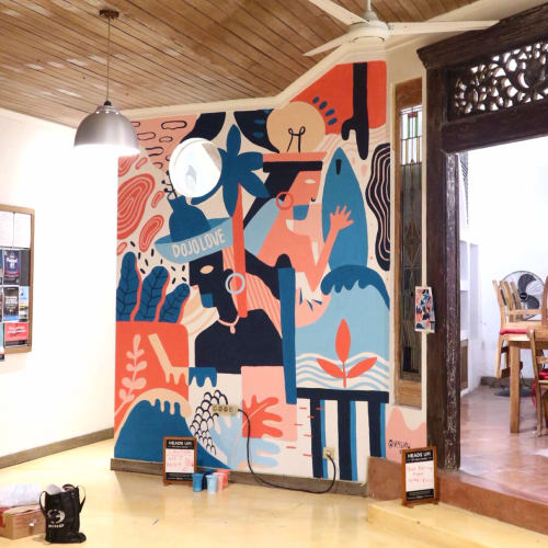 Murals by Yessiow seen at Dojo Bali Coworking - Digital Nomad