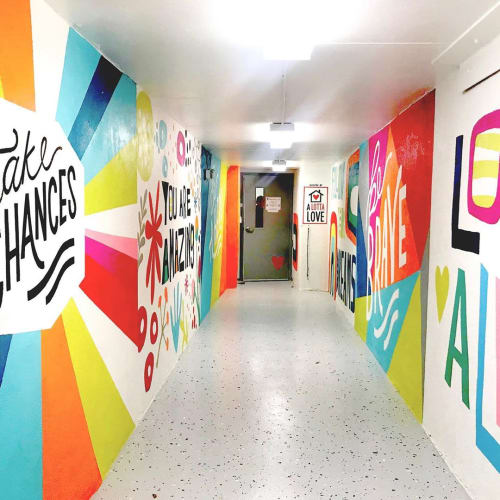 Murals by Vicky Barone seen at Raleigh Rescue Mission, Raleigh - Children's wing