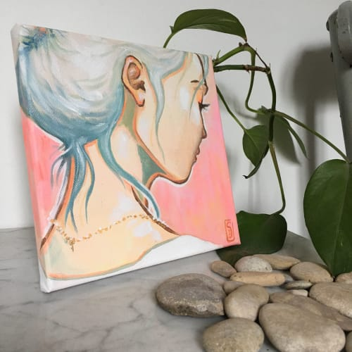 """Paintings by Monique van Steen seen at Private Residence, San Francisco - Miniature popart stylized original painting """"The mermaid's silence"""""""