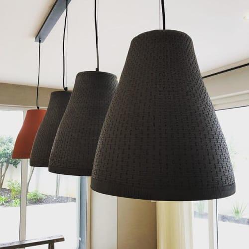 Pendants by Juliet Eidelman Ceramics seen at Private Residence, Hermanus - Basket weave pendants