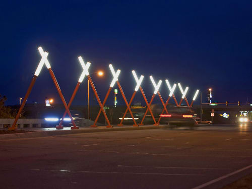 Public Sculptures by Vicki Scuri SiteWorks at North Ninth Street & Interstate 70, Salina, KS, Salina - North Ninth Gateway