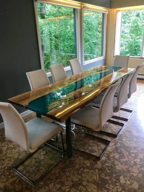 Tables by Frozen Grove seen at Private Residence, Anchorage - Custom 8' Birch River table