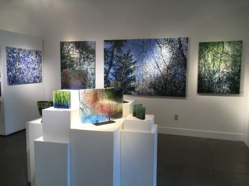"""Paintings by Angelita Surmon seen at Waterstone Gallery, Portland - """"Among Trees"""" Exhibit Installation Views"""