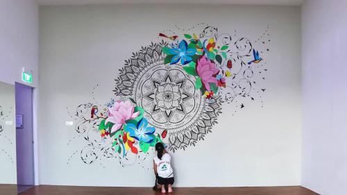 Murals by Leah Chong seen at Boon Lay Way - Big Box, Singapore - Mandala + Modern Florals Wall Mural