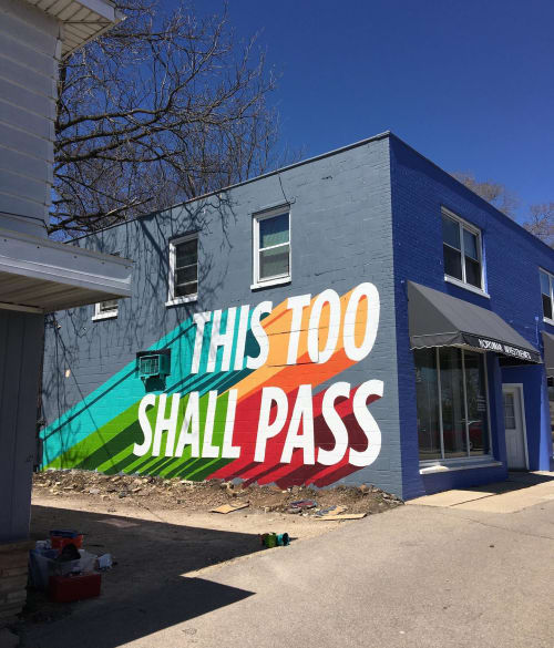 Murals by Ray Mawst seen at Monona Drive, Monona - This Too Shall Pass