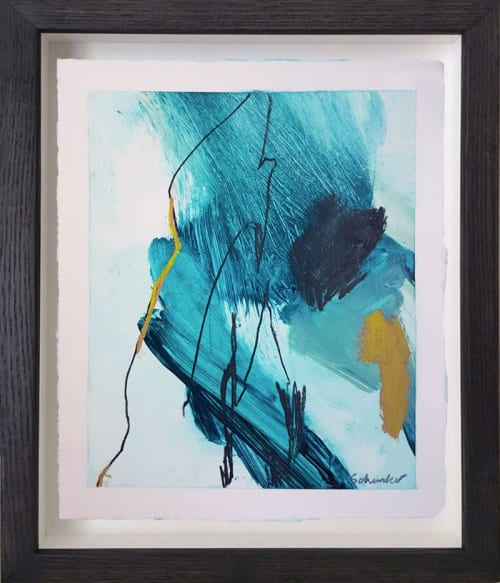 Paintings by Amanda Schunker seen at Private Residence, Sydney - Small Abstract Painting 'Water 1'