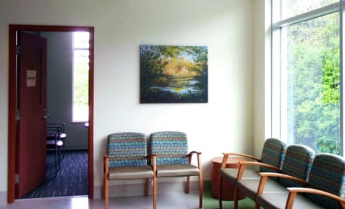 Paintings by Marion Webber seen at Jim Pattison Outpatient Care and Surgery Centre, Surrey - Sunlit Grotto #1, oil on canvas.
