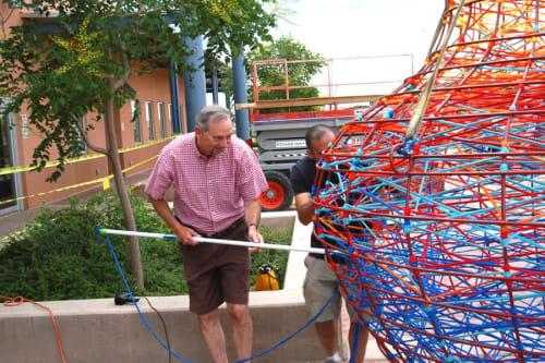 Sculptures by Randy Walker seen at Santa Fe Public Library - Southside Branch, Santa Fe - Woven Olla