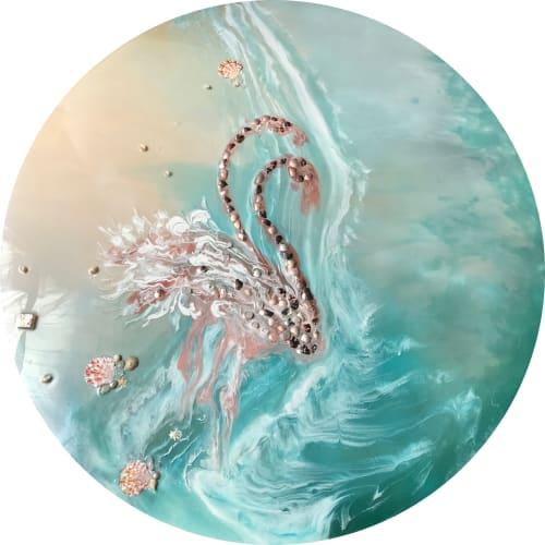 Paintings by ANTUANELLE at Oliver Brown Cafe, Zetland - Gemstone Artworks: Wonderland, Flamingos and Laguna Beach