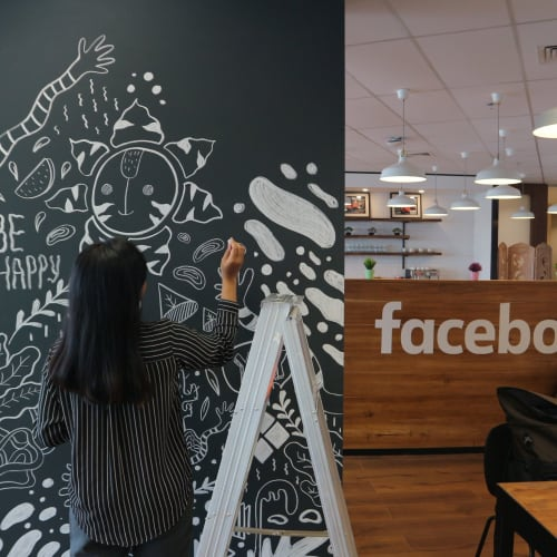 Murals by Yessiow seen at Creator's Studio, South Jakarta - Facebook Community Space Mural