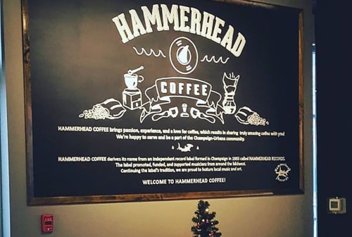 Murals by Megan Hinds seen at 608 E University Ave, Champaign - Hammerhead Coffee Mural