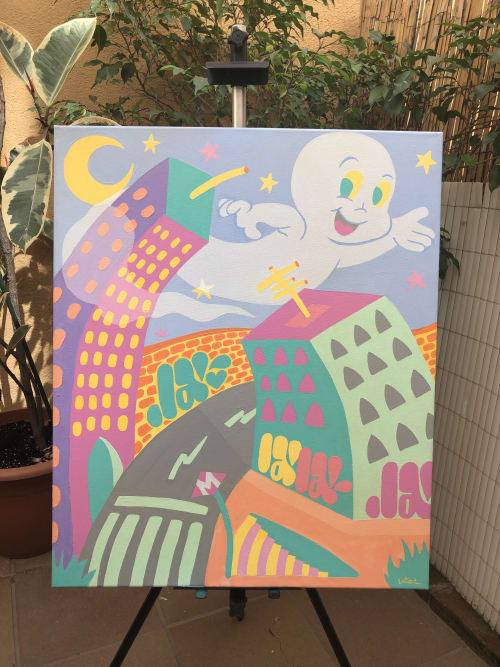 """Paintings by Laia1 seen at Private Residence, Barcelona - """"Ghosts in the city."""""""