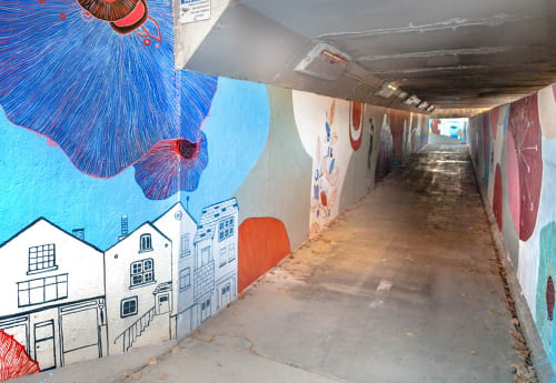 Street Murals by Yulia Avgustinovich seen at Longmont, Longmont - Tunnel Mural on the walls of an underpass