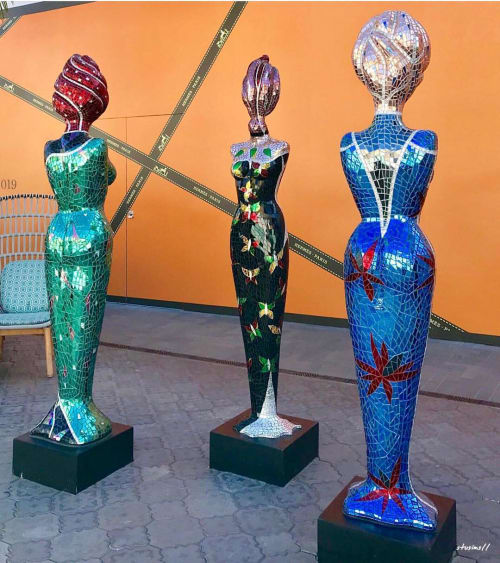 Sculptures by Glass Mosaic Master seen at Westfield UTC, San Diego - Three Graces