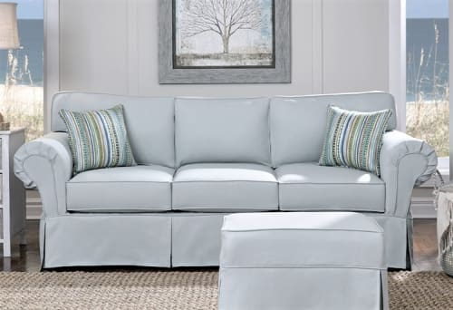 """Couches & Sofas by Simplicity Sofas - Furniture for Small Spaces & Tight Places seen at Private Residence, Philadelphia - Ashton 88"""" sofa with slipcover and matching storage ottoman"""