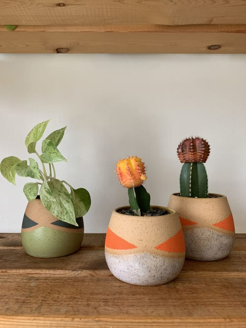 Vases & Vessels by Mineral Ceramics seen at Private Residence, Los Angeles - Whiskers Planter