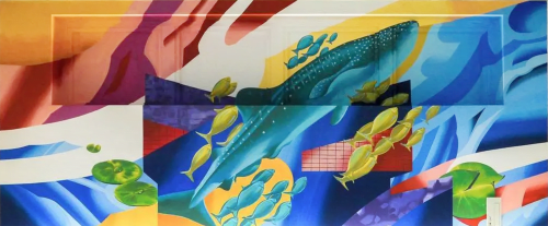 Murals by WHOLE9 seen at Ibis Styles Osaka, Ōsaka-shi - Mural