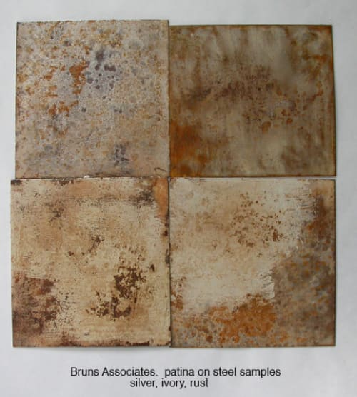 Wall Treatments by Carol Bruns at Thirty Park Place, New York - steel panels with rust and ivory patina