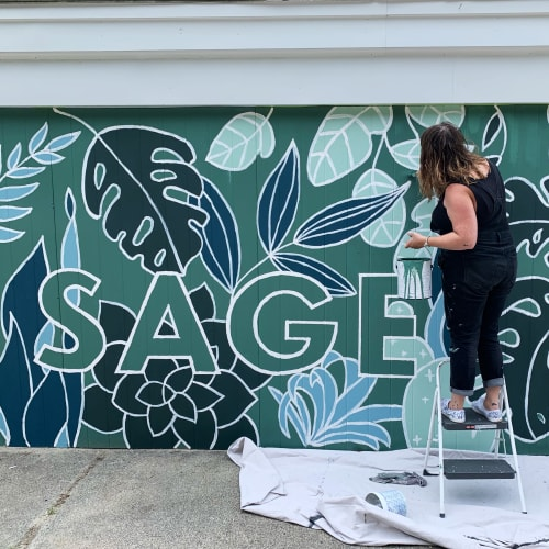 Murals by RebLetters seen at Sage Home Collections, Leominster - Sage Mural
