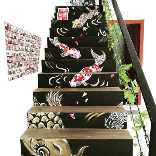 Murals by Yuya Negishi seen at Sushi Bar Shin, Krong Siem Reap - Staircase Mural Art