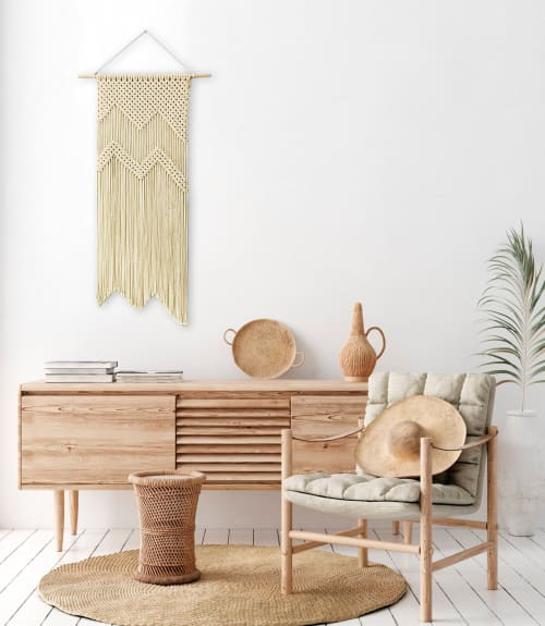 Macrame Wall Hanging by YASHI DESIGNS - Tall Contemporary macramé wall hanging- THE MOUNTIANS