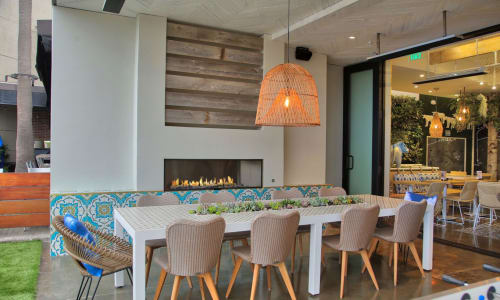 Fireplaces by European Home seen at Mendocino Farms, San Diego - J Series Single Sided Outdoor Gas Fireplace