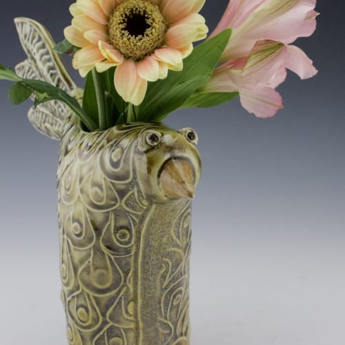 Plants & Flowers by Willi Eggerman Ceramics seen at Private Residence, Al Rideem - Porcelain Bird Vase