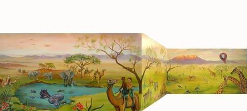 Murals by Magnificent Murals by Tajime seen at Kaiser Permanente San Jose Building 1 Family Health Center, San Jose - Safari Sunrise