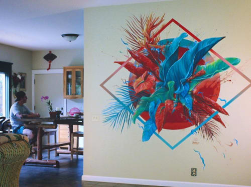 Murals by David 'MEGGS' Hooke seen at Private Residence, Hilo - Commissioned Mural