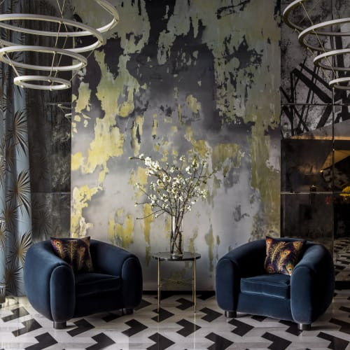 Art & Wall Decor by Chris Trueman seen at Ten50 Condos, Los Angeles - Gold and Grey Toned Painting