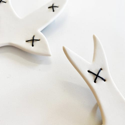 Art & Wall Decor by Elizabeth Prince Ceramics seen at Creator's Studio, Manchester - Black And White Hand Stitched Swallows