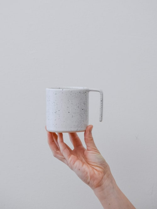 Cups by Stone + Sparrow seen at Private Residence, Pittsburgh - Speckled L-Grip Mugs