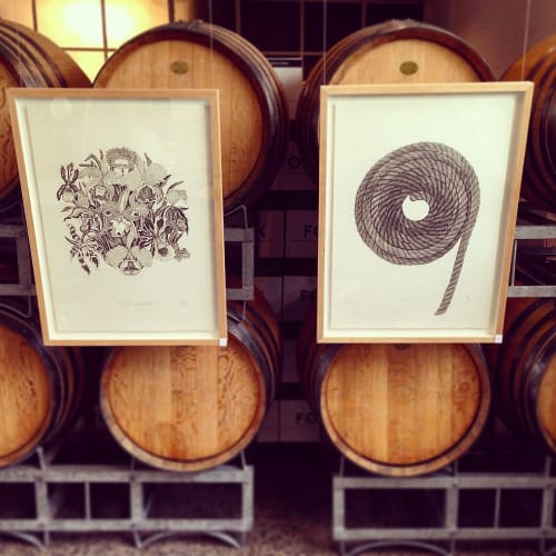 Wall Hangings by Hannah Jensen seen at Private Residence, Auckland - Drawings in Wine Cellar